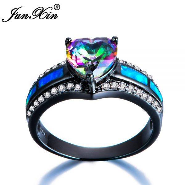 Bohemian Blue Fire Opal Heart Ring Rainbow Ring NoXuses
